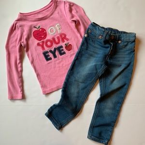 GapKids shirt and Genuine Kids jeggings sz 4T